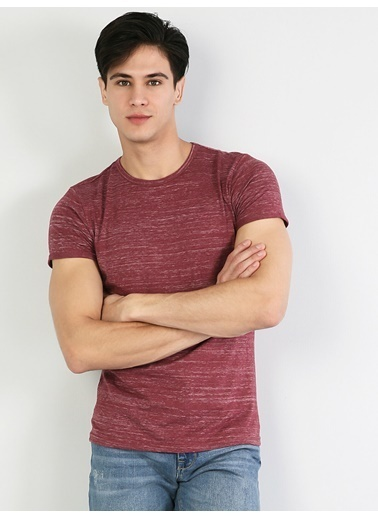 Colin's Desenli T-Shirt Bordo